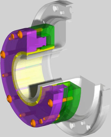 Shrink disc cutaway of a 3d model
